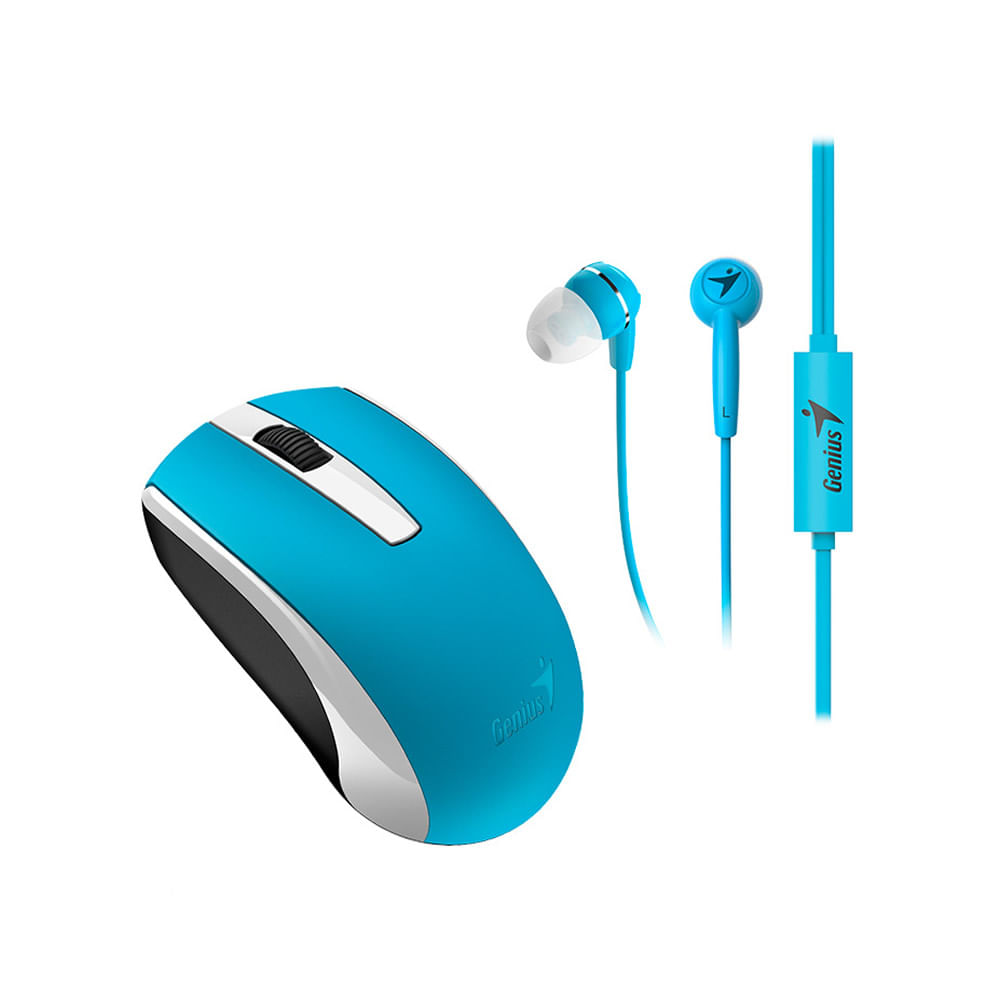 Combo-Genius-mouse---audifono-mh-8100-azul